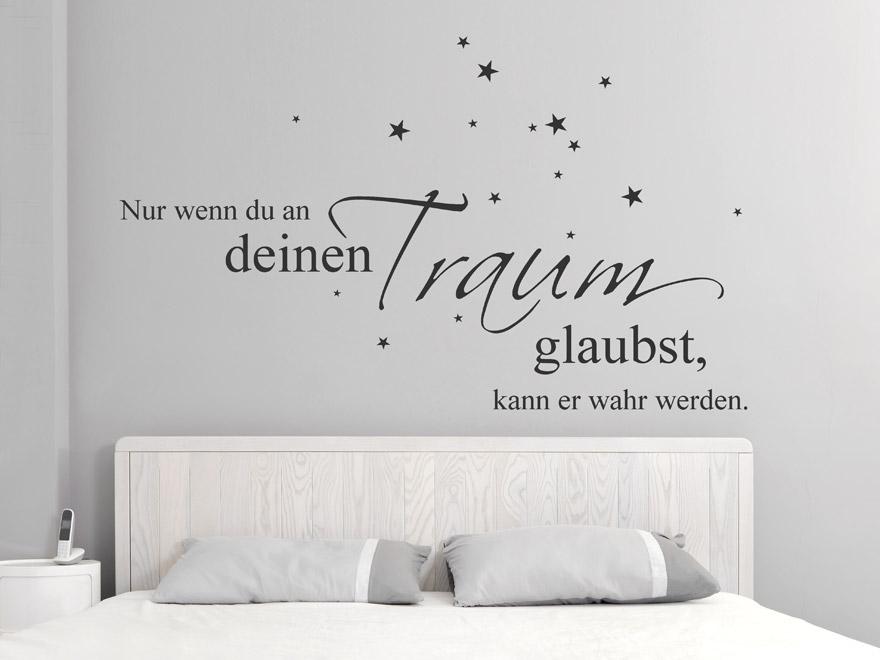 Wandtattoo Glaub An Deinen Traum Traum Wandtattoo Spruech Im Schlafzimmer  Vertraeumter Wandtattoo Spruch ...