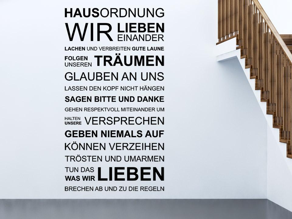 Wandtattoo Hausordnung Spruch Familie von Wandtattoo.net