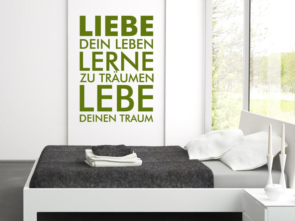wandtattoo liebe lerne lebe spruch von. Black Bedroom Furniture Sets. Home Design Ideas
