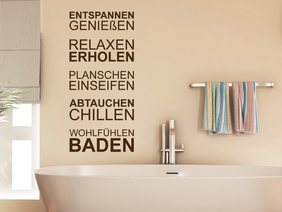 wellness wandtattoo baden spruch von. Black Bedroom Furniture Sets. Home Design Ideas