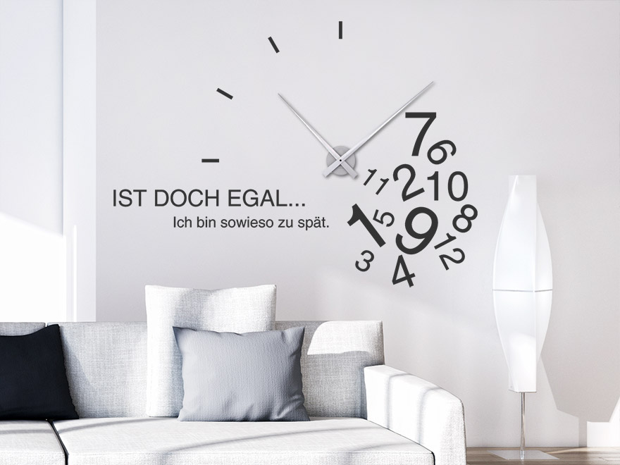 wandtattoo uhr zu sp t wanduhr von. Black Bedroom Furniture Sets. Home Design Ideas