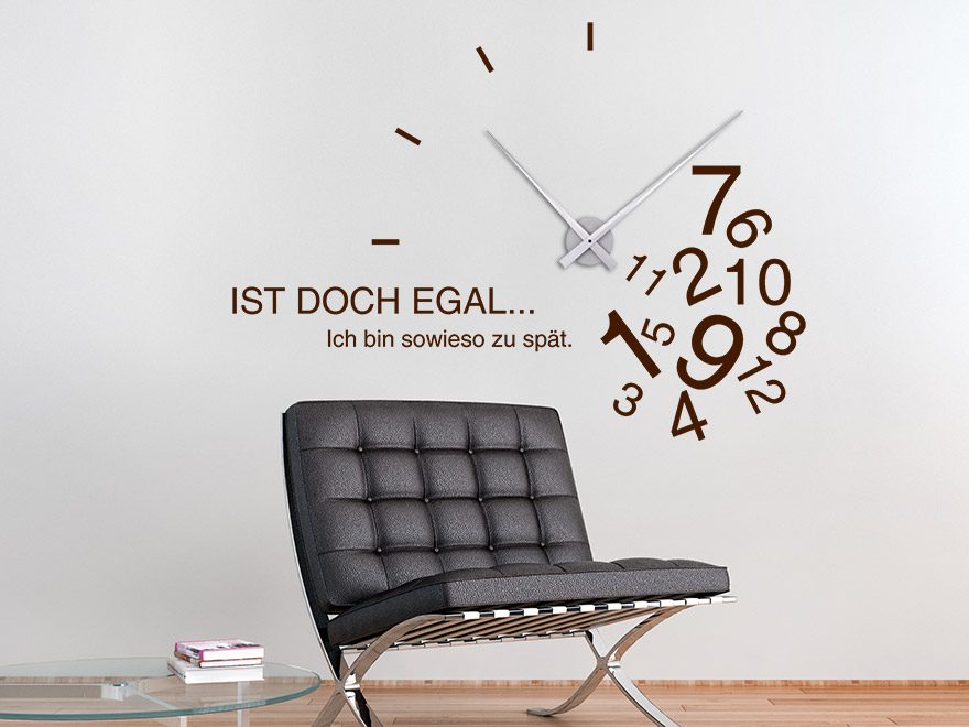 Wandtattoo Uhr Zu spät Wanduhr von Wandtattoo.net