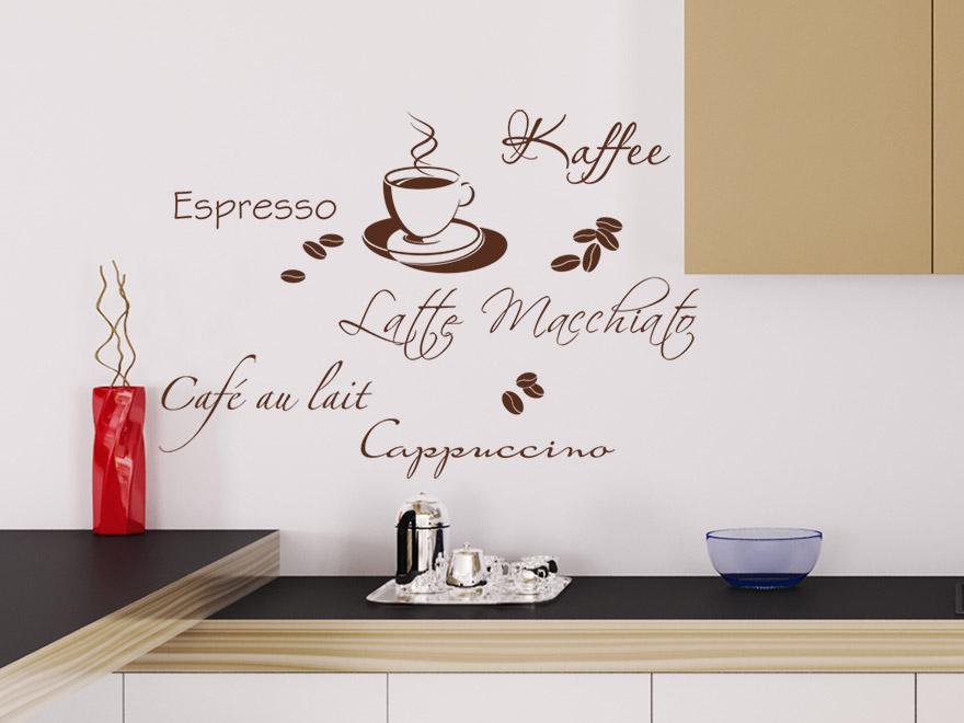 Wandtattoo kaffeespezialit ten auswahl von for Wandtattoo braun