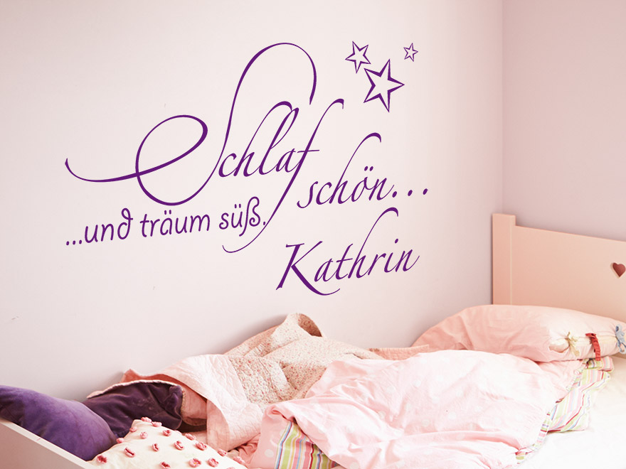 kinder wandtattoo schlaf sch n mit name von. Black Bedroom Furniture Sets. Home Design Ideas