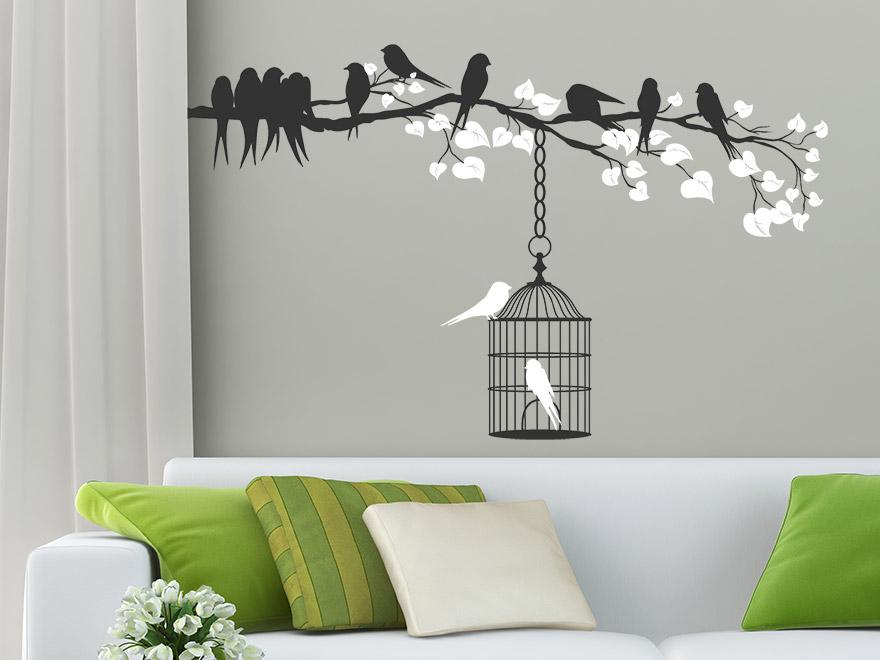 wandtattoo ast mit v geln und k fig von. Black Bedroom Furniture Sets. Home Design Ideas
