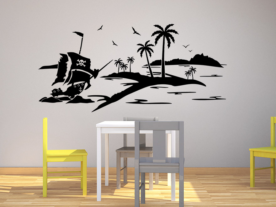 kinder wandtattoo pirateninsel von. Black Bedroom Furniture Sets. Home Design Ideas