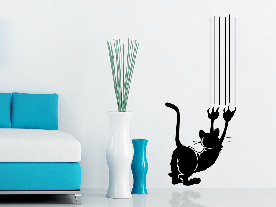 wandtattoo kratzender kater von. Black Bedroom Furniture Sets. Home Design Ideas