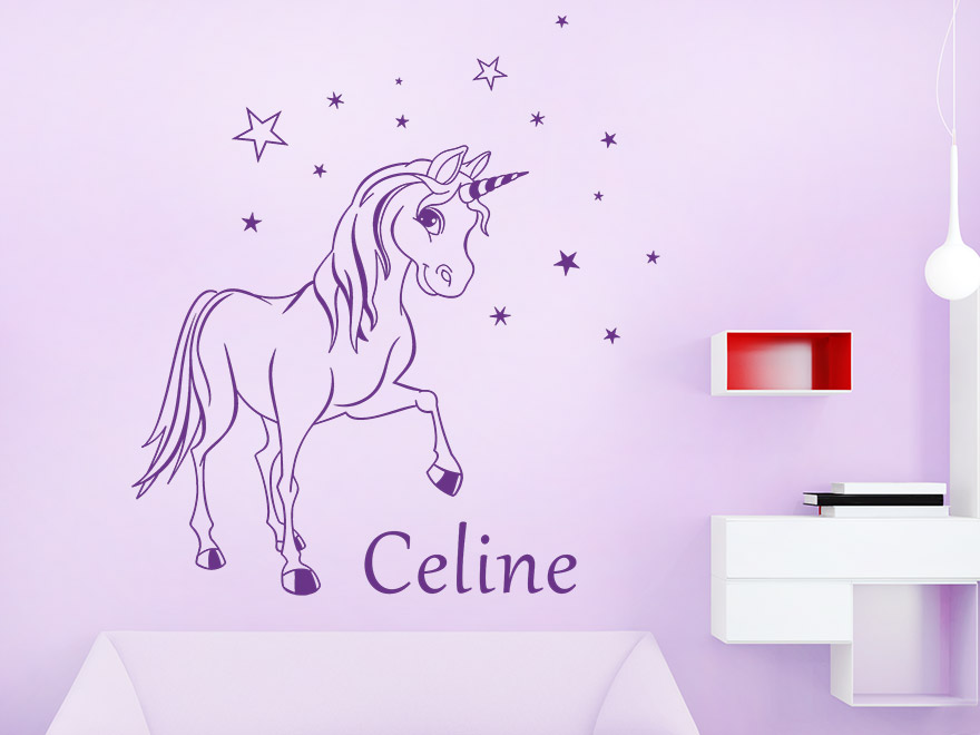 wandtattoo verzaubertes pony mit name von. Black Bedroom Furniture Sets. Home Design Ideas