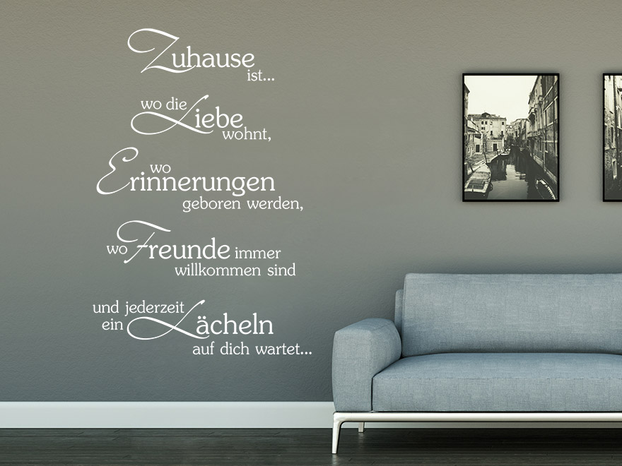 wandtattoo spruch stilvolles zuhause von. Black Bedroom Furniture Sets. Home Design Ideas
