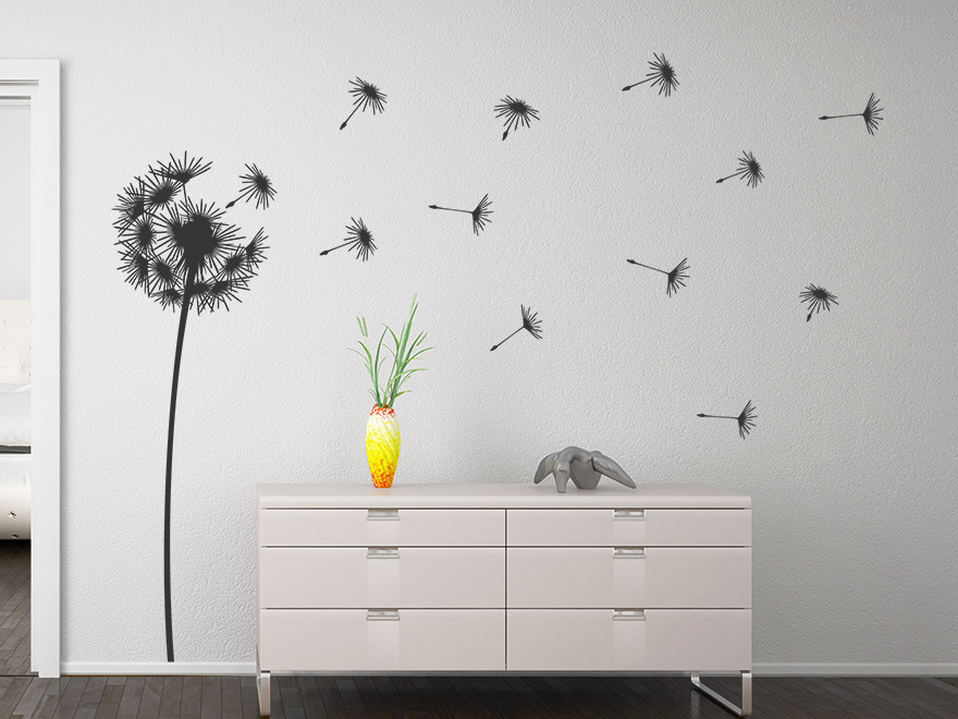 wandtattoo stilvolle pusteblume von. Black Bedroom Furniture Sets. Home Design Ideas