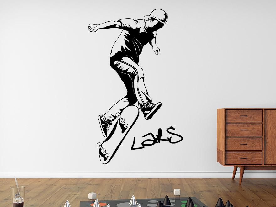 wandtattoo cooler skater mit wunschname von. Black Bedroom Furniture Sets. Home Design Ideas