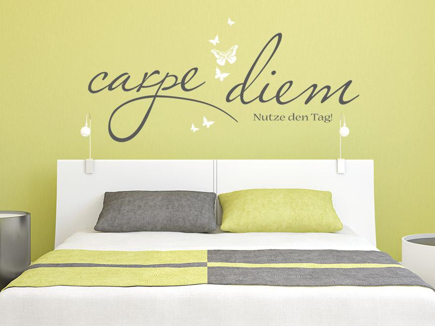 wandtattoo spruch schmetterlinge mit carpe diem von. Black Bedroom Furniture Sets. Home Design Ideas