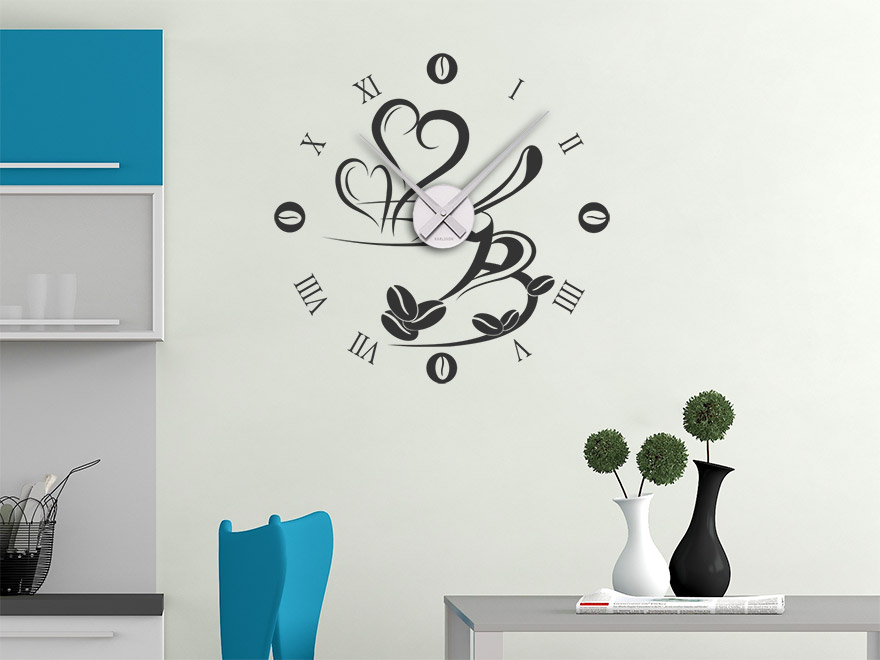 wandtattoo k che uhr reuniecollegenoetsele. Black Bedroom Furniture Sets. Home Design Ideas
