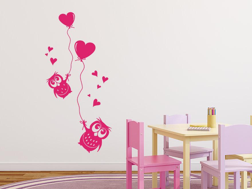 wandtattoo eulen mit luftballons von. Black Bedroom Furniture Sets. Home Design Ideas