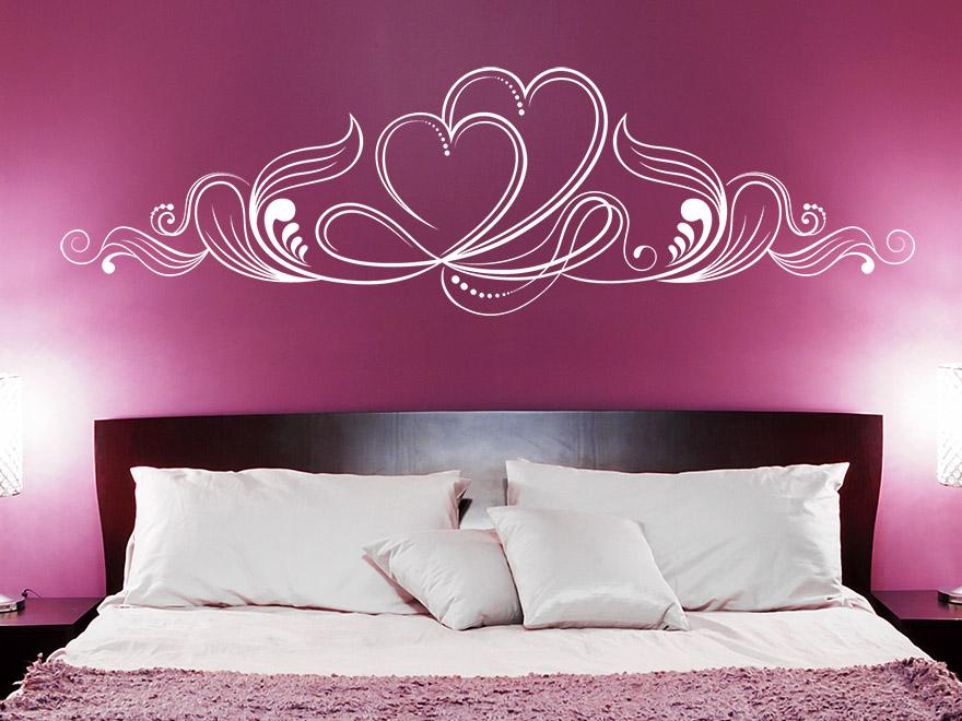 wandtattoo ornament mit zwei herzen von. Black Bedroom Furniture Sets. Home Design Ideas