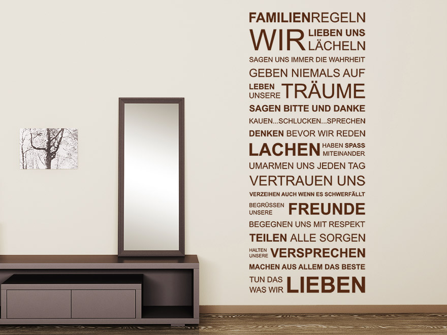 Wandtattoo Familien-Regeln Spruch von wandtattoo.net