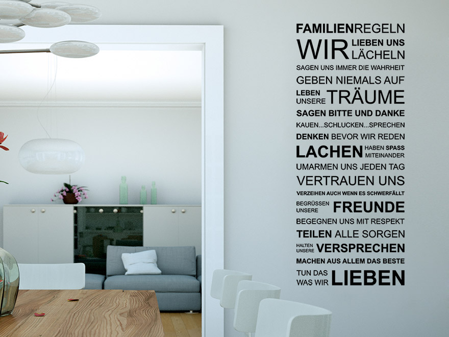 wandtattoo familien regeln spruch von. Black Bedroom Furniture Sets. Home Design Ideas