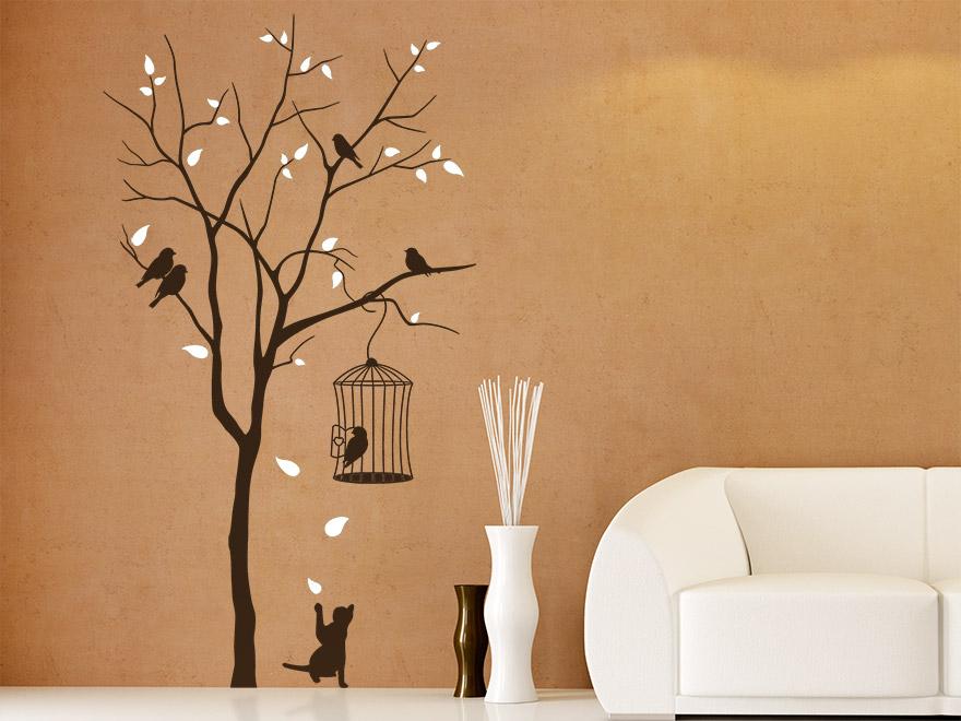 ... Wandtattoo Katze Am Baum Im Wohnzimmer ...