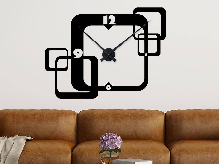 wandtattoo retro uhr von. Black Bedroom Furniture Sets. Home Design Ideas
