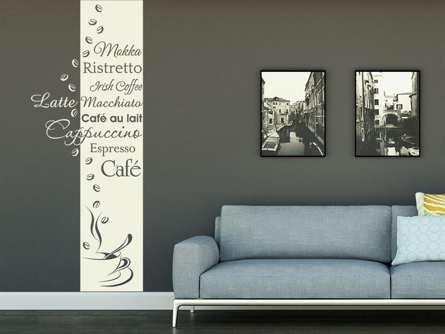 Wandtattoo banner kaffeesorten von for Wandtattoo banner