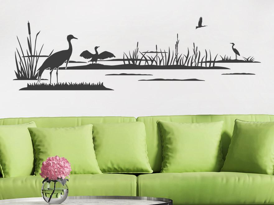 wandtattoo schilf traum von. Black Bedroom Furniture Sets. Home Design Ideas