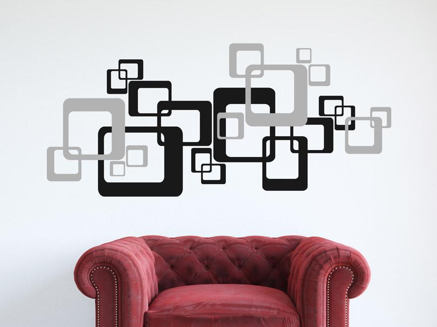 wandtattoo retro cubes zweifarbig von wandtattoo.net - Wandtattoo Wohnzimmer Retro