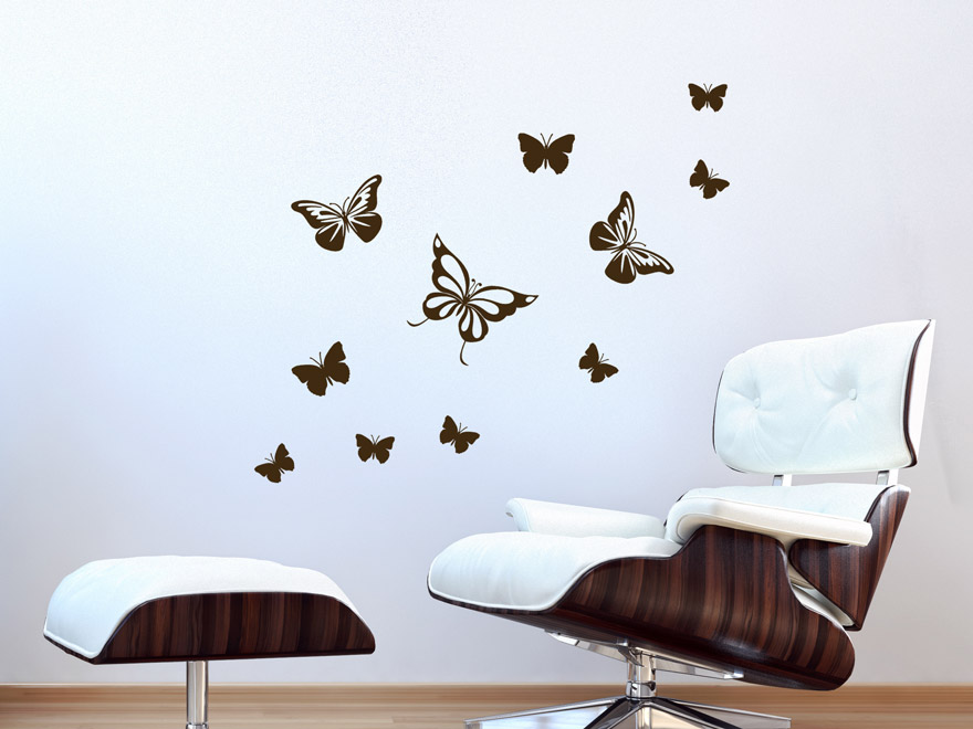 wandtattoo fliegende schmetterlinge von. Black Bedroom Furniture Sets. Home Design Ideas