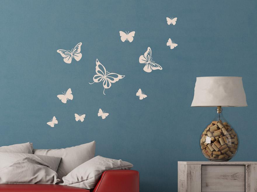 wandtattoo fliegende schmetterlinge von. Black Bedroom Furniture Sets. Home Design Ideas