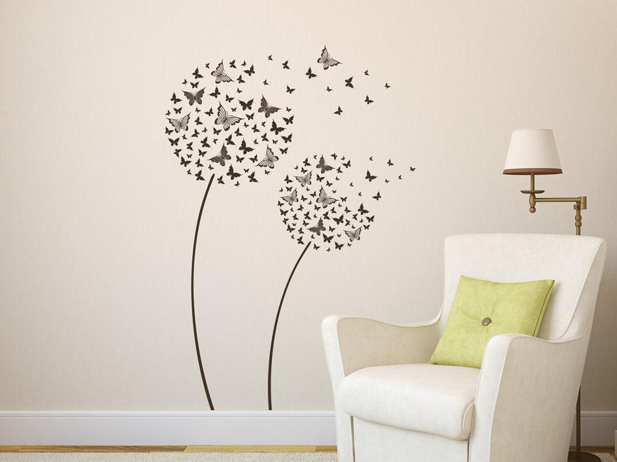 GroB Wandtattoo Blume Schmetterling In Grau Wandtattoo Blume Schmetterling Im  Wohnzimmer ...