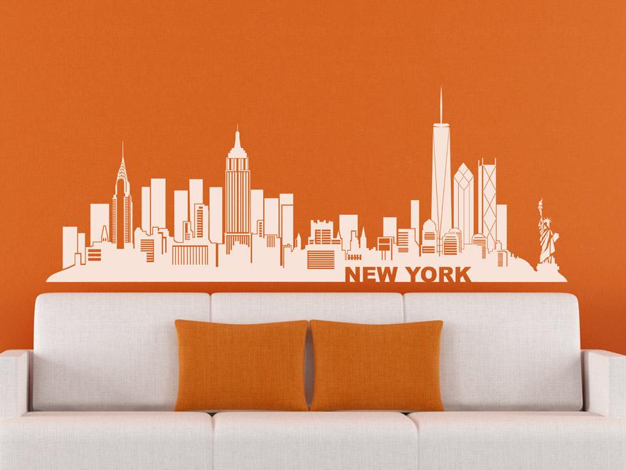 Jazz Im Wohnzimmer New York : Wandtattoo Skyline New York von ...