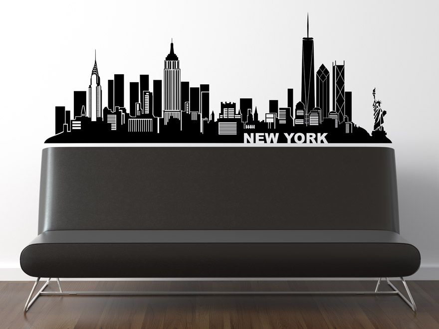 wandtattoo skyline new york von. Black Bedroom Furniture Sets. Home Design Ideas