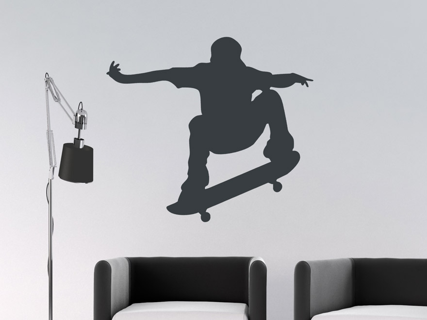 wandtattoo street skater silhouette von. Black Bedroom Furniture Sets. Home Design Ideas
