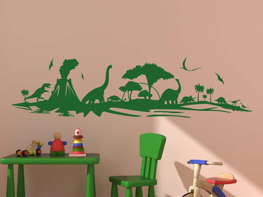 Wandtattoo Urzeit Dinosaurier In Rot Wandtattoo Urzeit Dinosaurier Im  Kinderzimmer ...