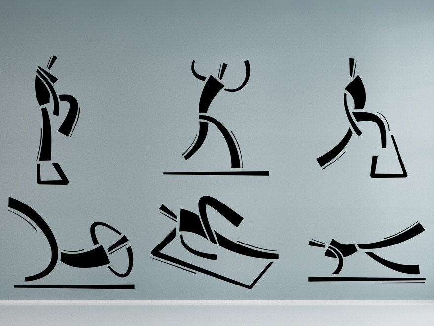 wandtattoo fitness moves von. Black Bedroom Furniture Sets. Home Design Ideas