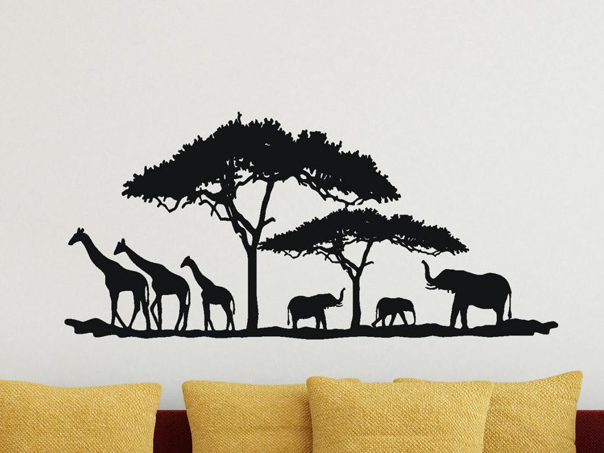 Wandtattoo landschaft in afrika von for Wandtattoo afrika