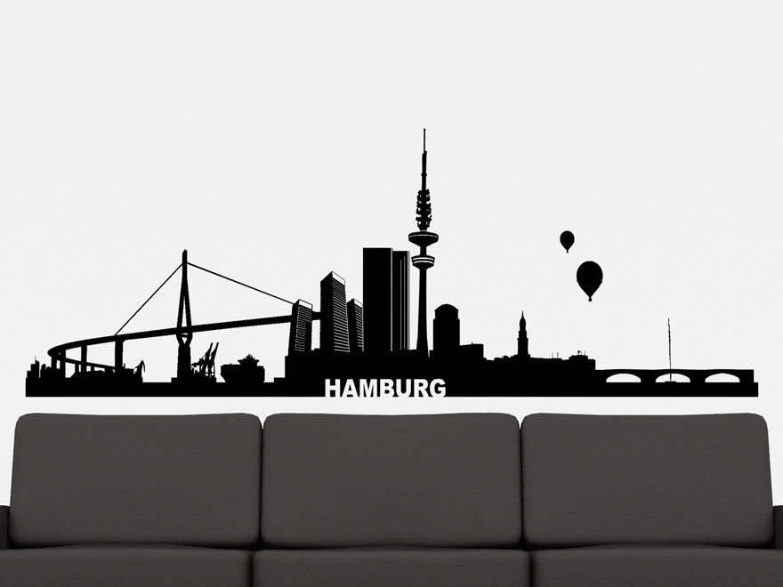 wandtattoo skyline hamburg von. Black Bedroom Furniture Sets. Home Design Ideas