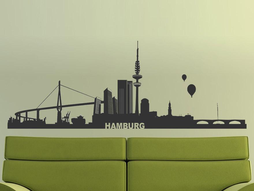 wandtattoo skyline hamburg von. Black Bedroom Furniture Sets. Home Design Ideas