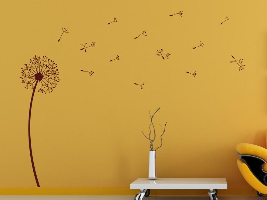 Wandtattoo pusteblume frischer wind mit pusteblumen for Wandtattoo braun