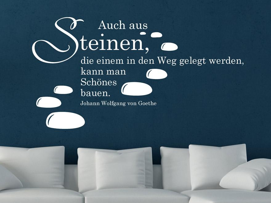 Steine An Wand Malen : Wand Steine  Wandtattoo Zitat Steine Im Weg In Wei&223 Auf Blauem