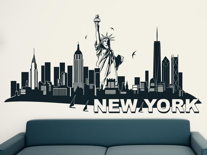 Great Wandtattoo New York Freiheitsstatue In Schwarz Skyline New York Mit  Freiheitsstatue Im Wohnzimmer über Dem Sofa ...