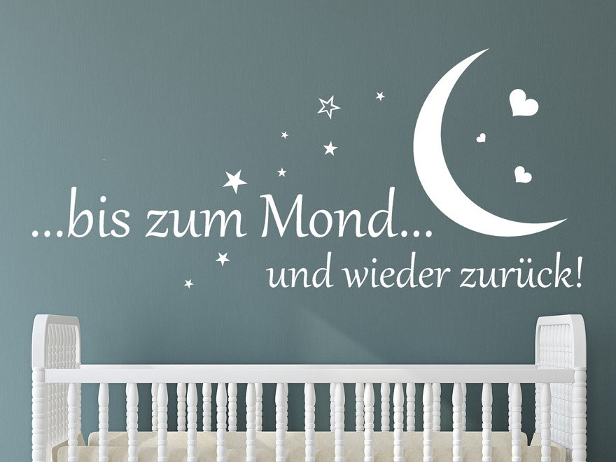 baby wandtattoo zum mond und zur ck von. Black Bedroom Furniture Sets. Home Design Ideas