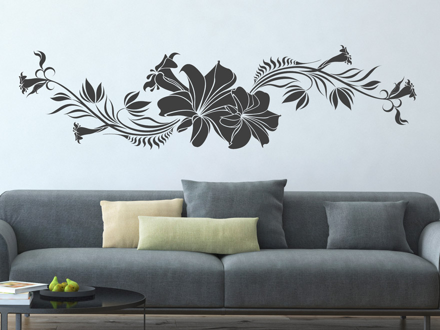 wandtattoo lilien ornament von. Black Bedroom Furniture Sets. Home Design Ideas
