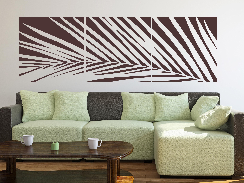 Astounding Wandtattoo Gräser Referenz Von Stylischer Palmwedel Als Banner über Dem Sofa
