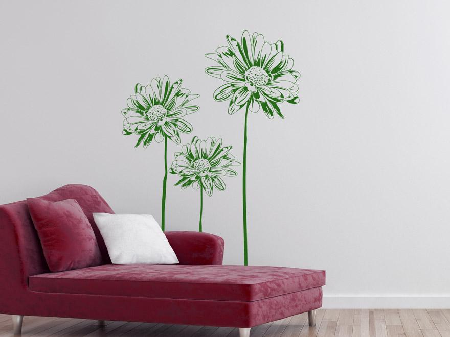 wandtattoo blumen gr n reuniecollegenoetsele. Black Bedroom Furniture Sets. Home Design Ideas