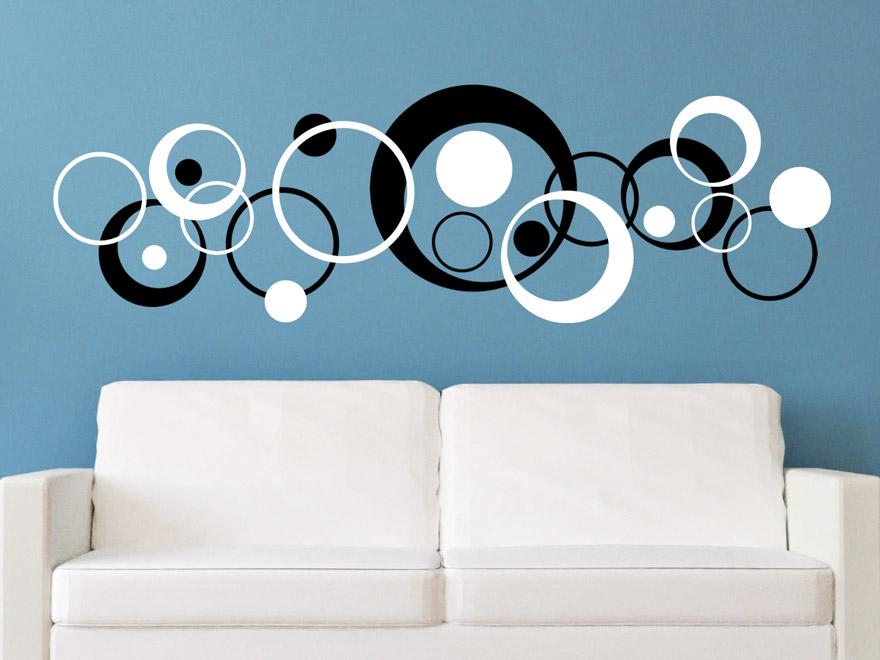 wandtattoo zweifarbige retro kreise von. Black Bedroom Furniture Sets. Home Design Ideas