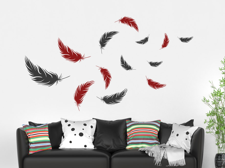 wandtattoo zweifarbiges federn set von. Black Bedroom Furniture Sets. Home Design Ideas