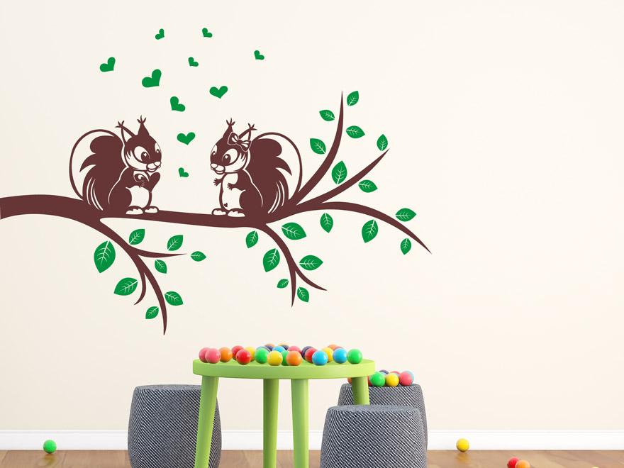 wandtattoo ast mit eichh rnchen von. Black Bedroom Furniture Sets. Home Design Ideas