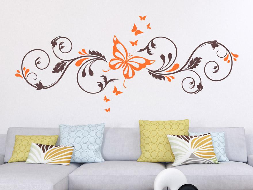 wandtattoo zweifarbiges ornament mit schmetterlingen von. Black Bedroom Furniture Sets. Home Design Ideas
