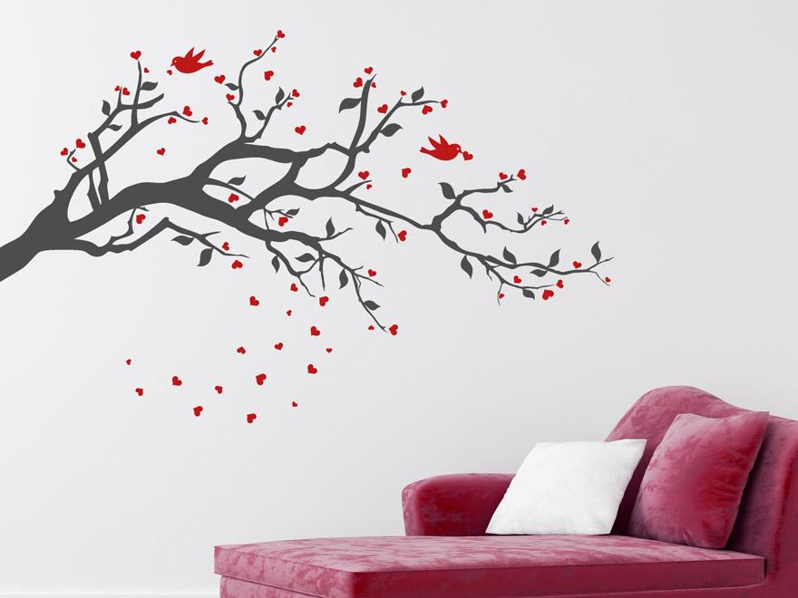 wandtattoo zweifarbiger ast mit herzen von. Black Bedroom Furniture Sets. Home Design Ideas