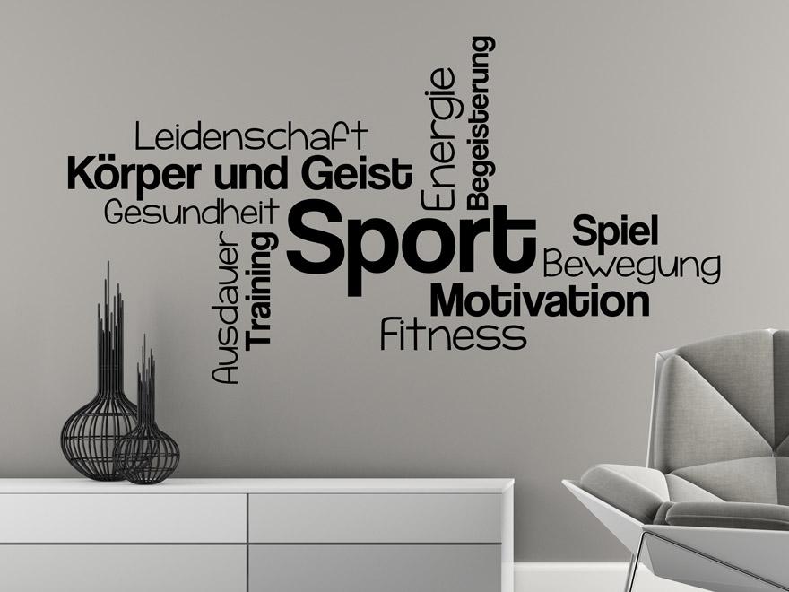 Dynamisches Wandtattoo Sport Begriffe in schwarz